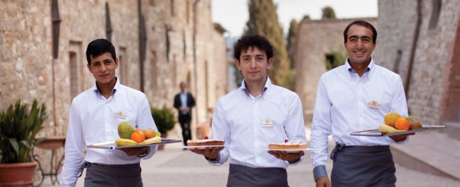 Servers at Castello di Casole